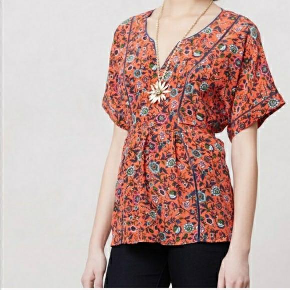 Anthropologie Maeve Kimono Silk Blouse